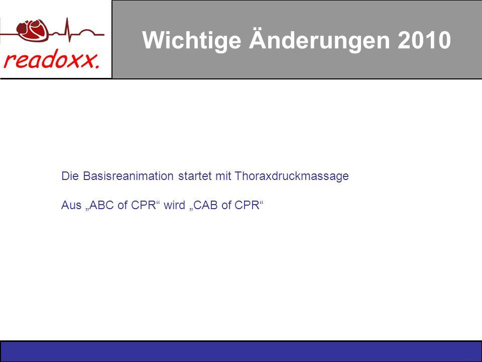 Wichtige Änderungen 2010 Die Basisreanimation startet mit Thoraxdruckmassage.