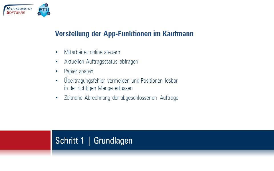 Schritt 1 | Grundlagen Vorstellung der App-Funktionen im Kaufmann