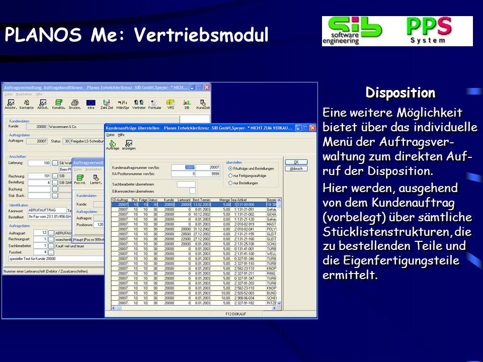 Disposition Evtl. positionsbezogene Daten, z.B. das Fehlen oder