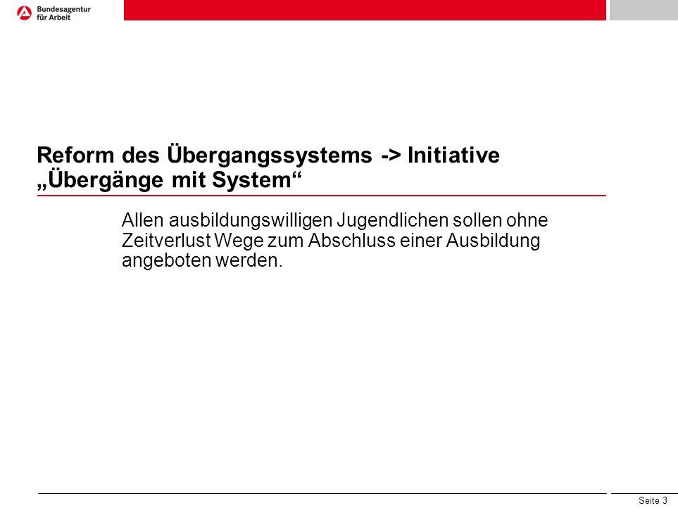 "Reform des Übergangssystems -> Initiative ""Übergänge mit System"