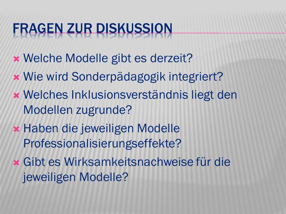 Fragen zur Diskussion Welche Modelle gibt es derzeit