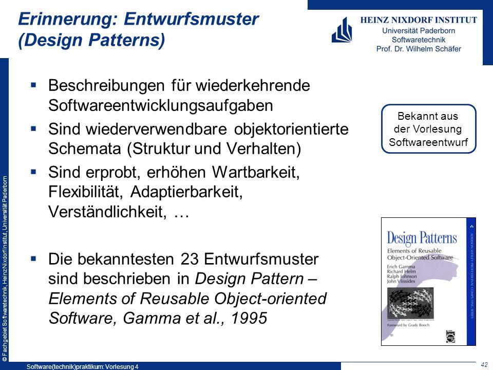 Erinnerung: Entwurfsmuster (Design Patterns)