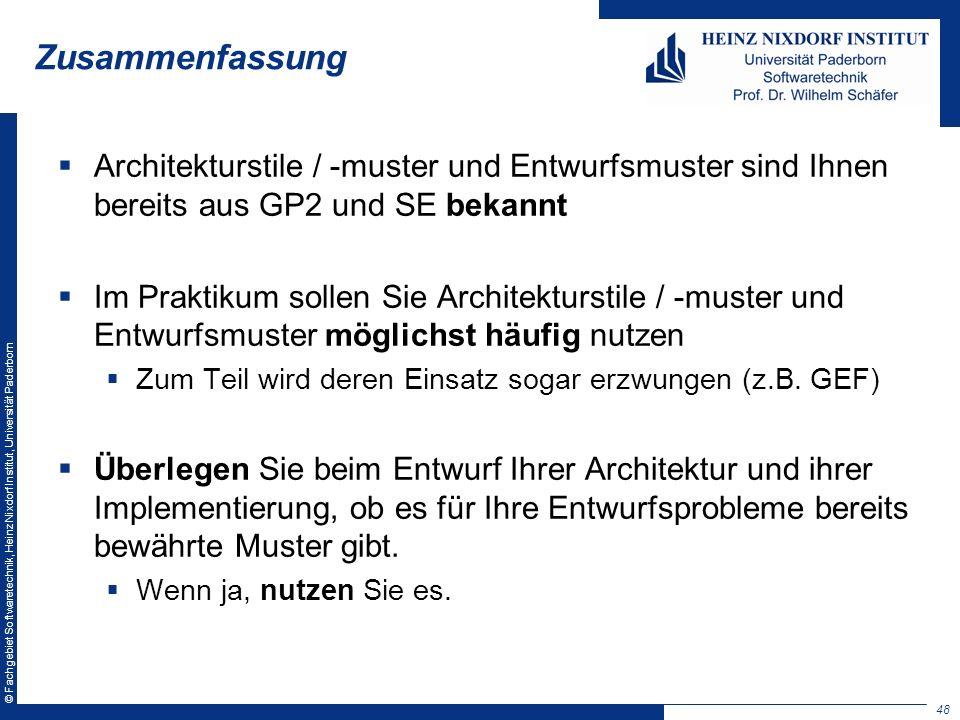 Zusammenfassung Architekturstile / -muster und Entwurfsmuster sind Ihnen bereits aus GP2 und SE bekannt.