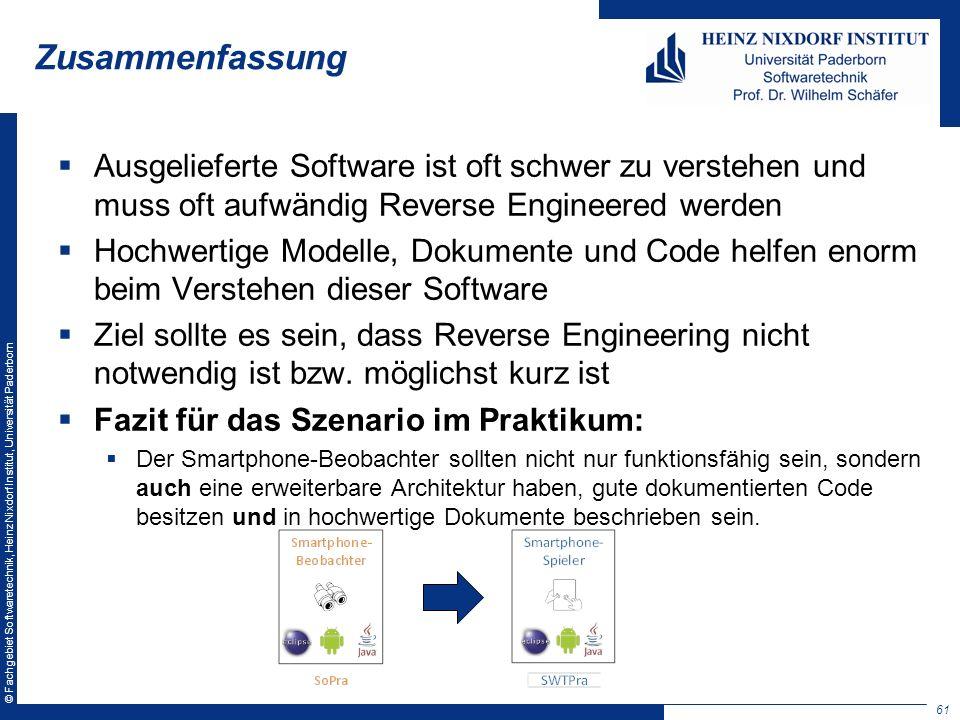 Zusammenfassung Ausgelieferte Software ist oft schwer zu verstehen und muss oft aufwändig Reverse Engineered werden.