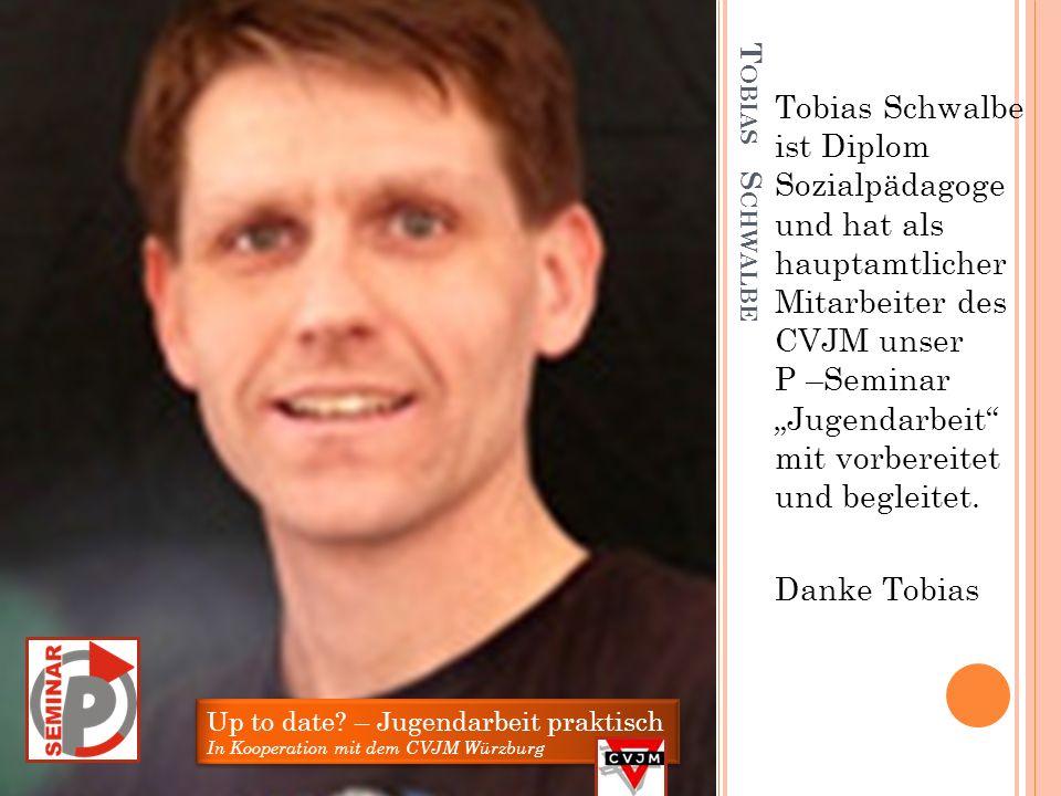 """Tobias Schwalbe ist Diplom Sozialpädagoge und hat als hauptamtlicher Mitarbeiter des CVJM unser P –Seminar """"Jugendarbeit mit vorbereitet und begleitet."""
