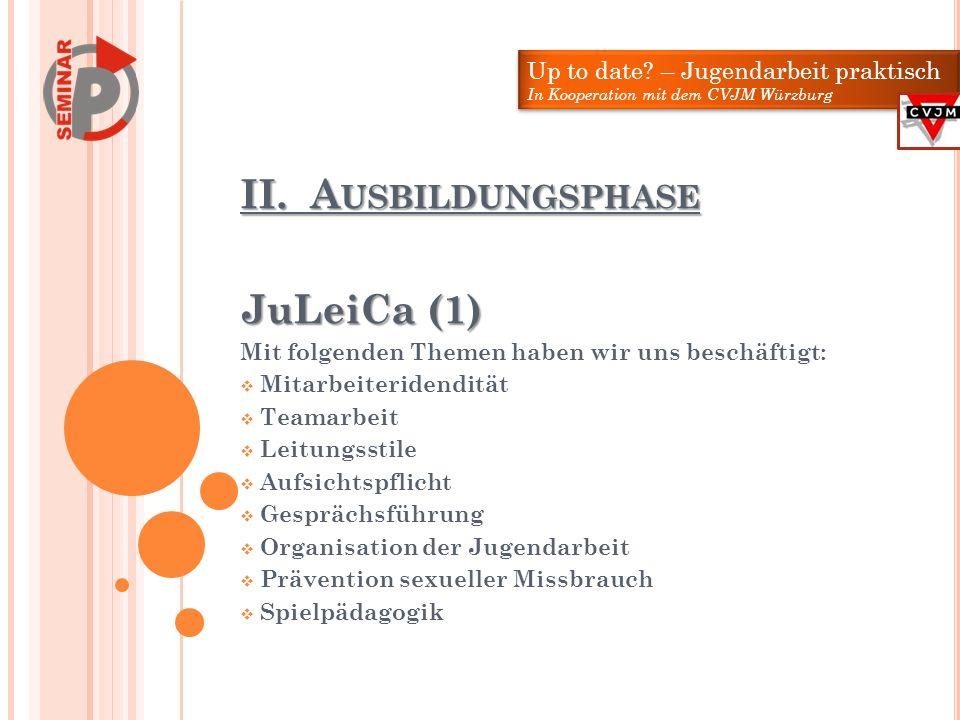 II. Ausbildungsphase JuLeiCa (1) Up to date – Jugendarbeit praktisch