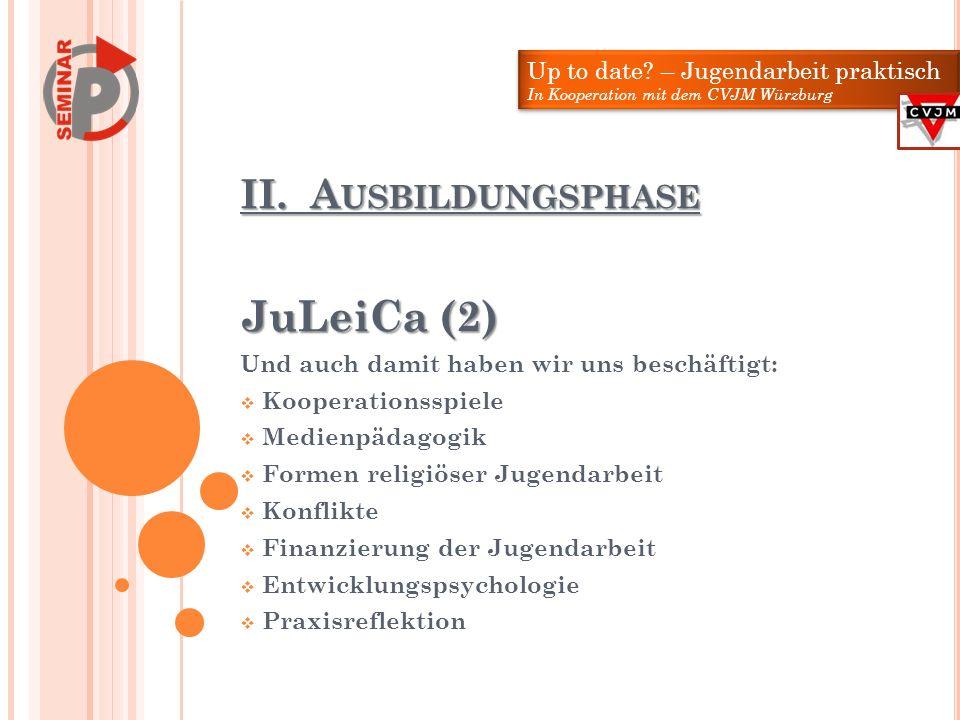 JuLeiCa (2) II. Ausbildungsphase Up to date – Jugendarbeit praktisch
