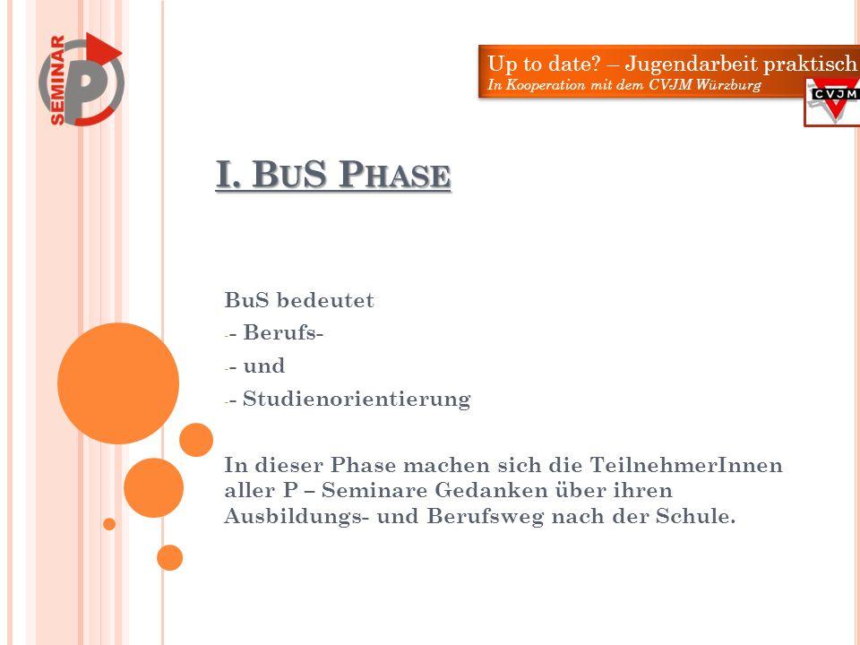 I. BuS Phase Up to date – Jugendarbeit praktisch BuS bedeutet