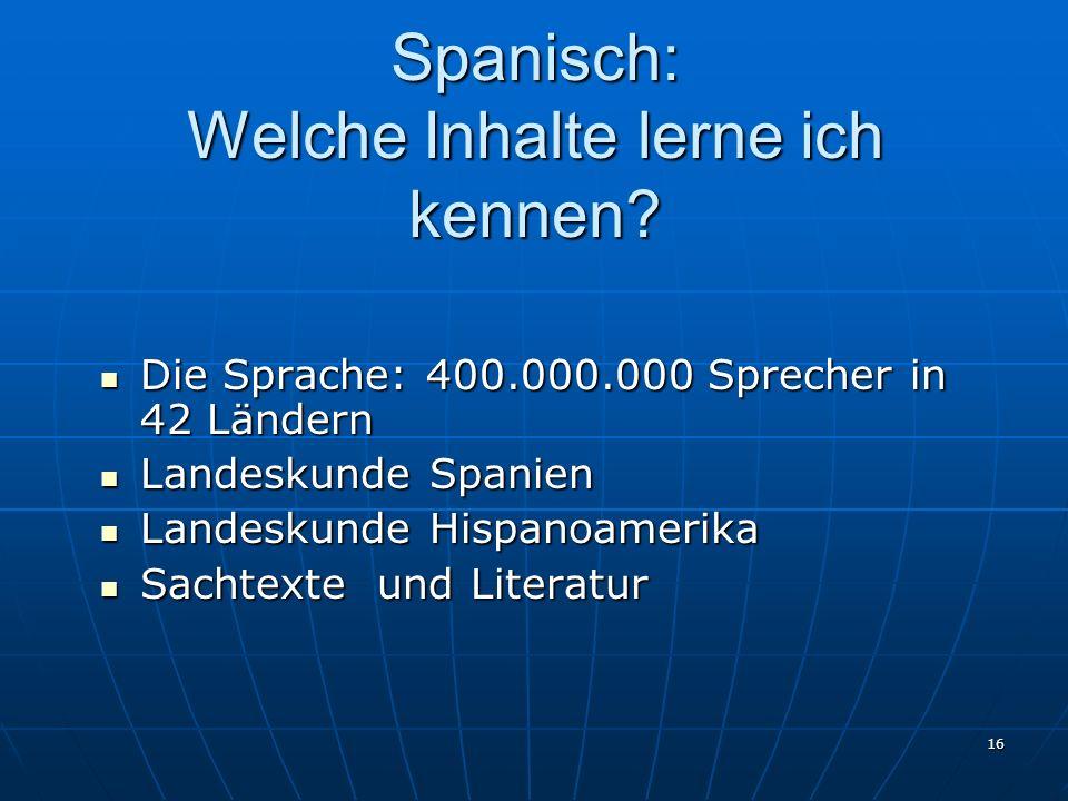 Spanisch: Welche Inhalte lerne ich kennen