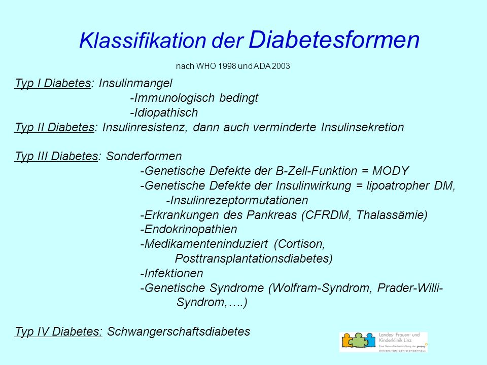 Klassifikation der Diabetesformen nach WHO 1998 und ADA 2003