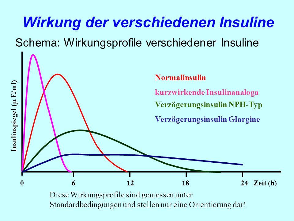 Wirkung der verschiedenen Insuline