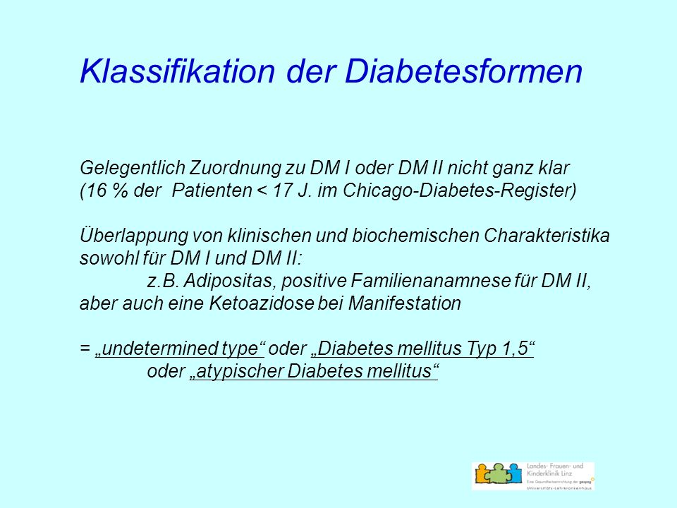 Klassifikation der Diabetesformen