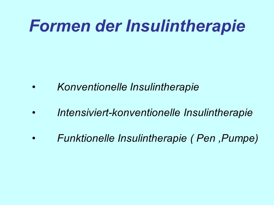 Formen der Insulintherapie