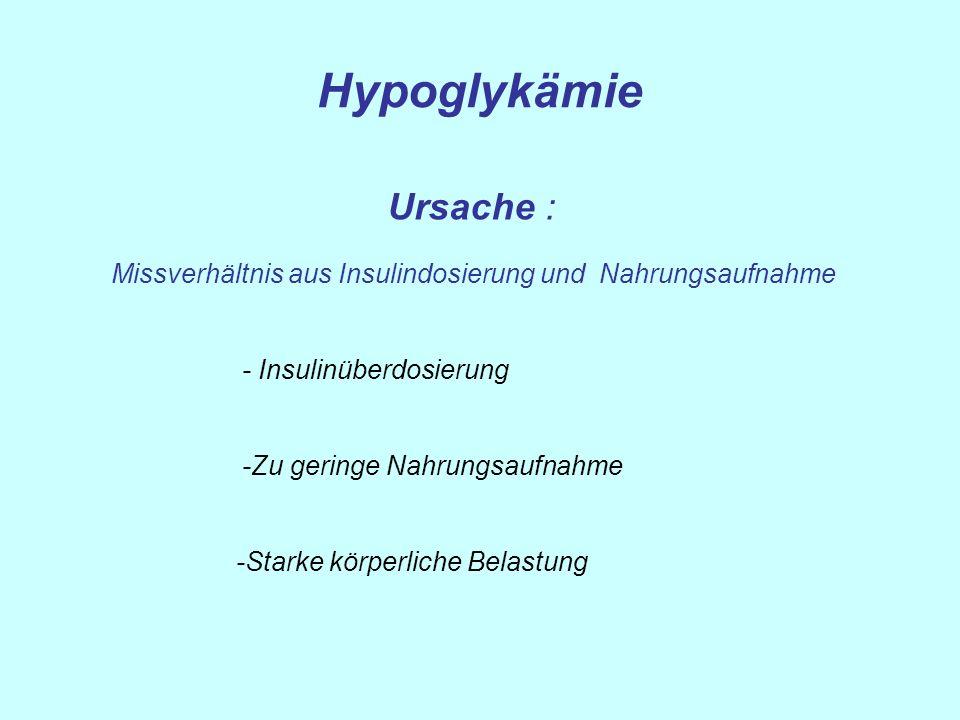 Hypoglykämie Ursache : - Insulinüberdosierung