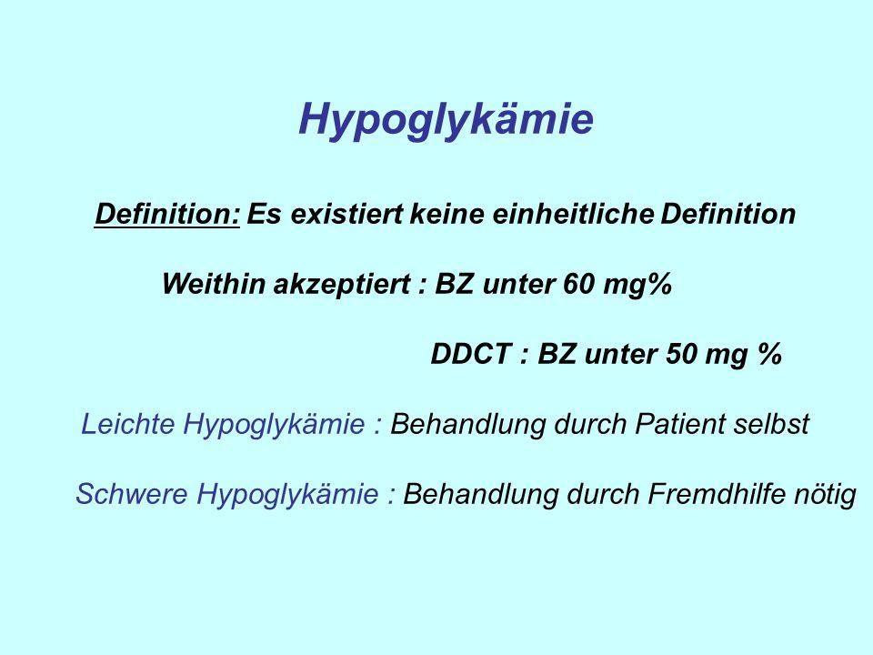 Hypoglykämie Definition: Es existiert keine einheitliche Definition