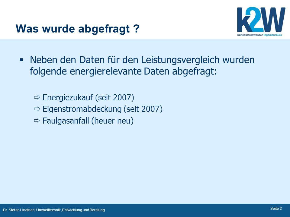 Was wurde abgefragt Neben den Daten für den Leistungsvergleich wurden folgende energierelevante Daten abgefragt:
