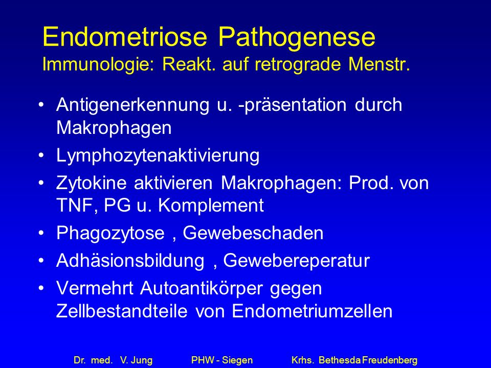 Endometriose Pathogenese Immunologie: Reakt. auf retrograde Menstr.