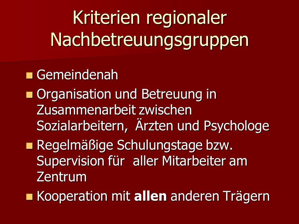 Kriterien regionaler Nachbetreuungsgruppen