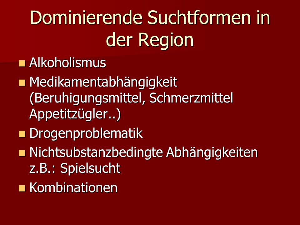 Dominierende Suchtformen in der Region