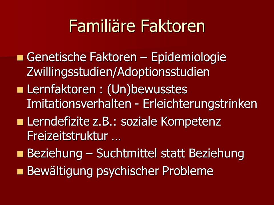 Familiäre Faktoren Genetische Faktoren – Epidemiologie Zwillingsstudien/Adoptionsstudien.