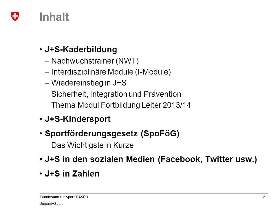 Inhalt J+S-Kaderbildung J+S-Kindersport Sportförderungsgesetz (SpoFöG)