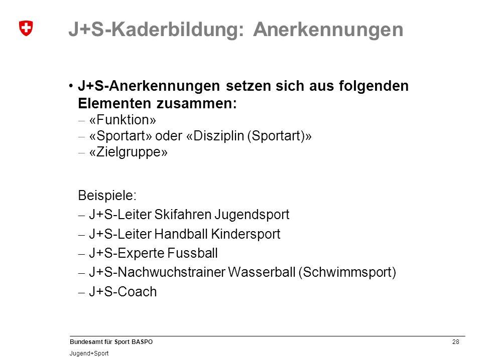 J+S-Kaderbildung: Anerkennungen