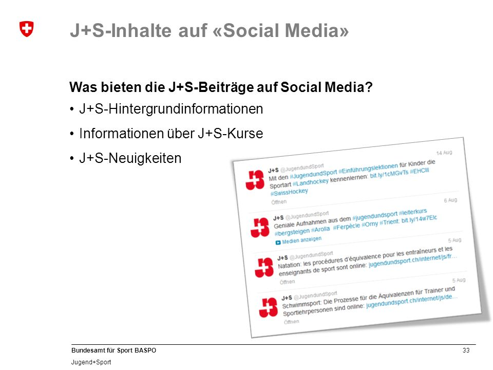 J+S-Inhalte auf «Social Media»