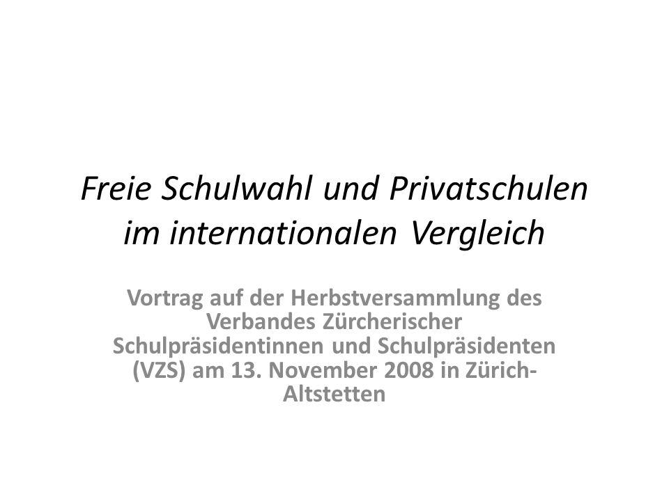 Freie Schulwahl und Privatschulen im internationalen Vergleich