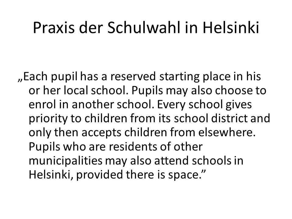 Praxis der Schulwahl in Helsinki