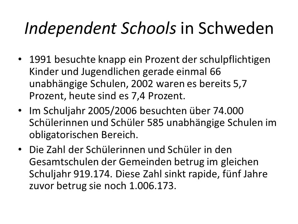 Independent Schools in Schweden