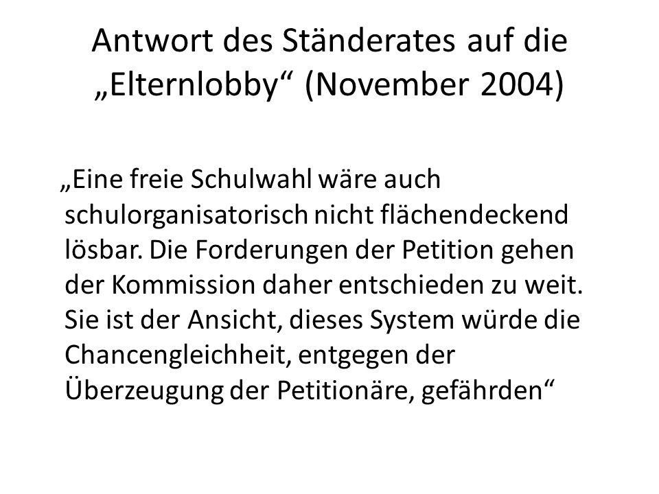 """Antwort des Ständerates auf die """"Elternlobby (November 2004)"""