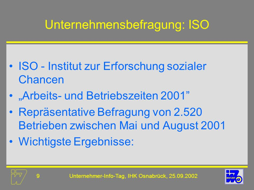 Unternehmensbefragung: ISO