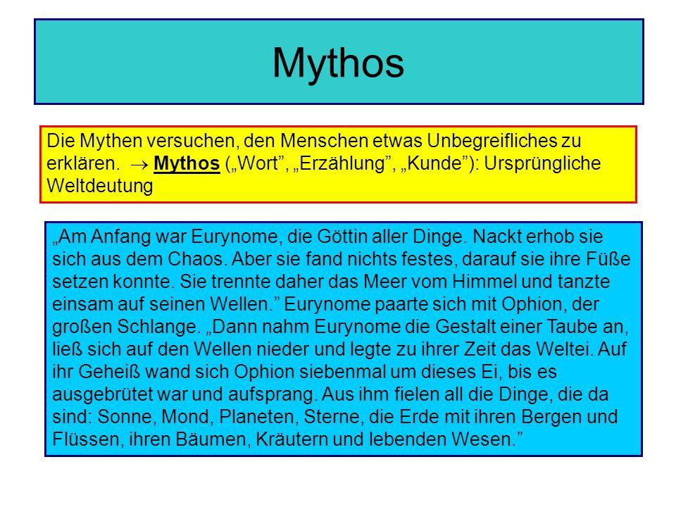 """Mythos Die Mythen versuchen, den Menschen etwas Unbegreifliches zu erklären.  Mythos (""""Wort , """"Erzählung , """"Kunde ): Ursprüngliche Weltdeutung."""