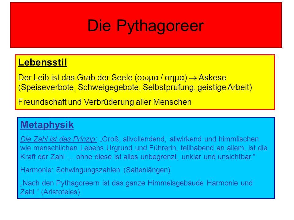 Die Pythagoreer Lebensstil Metaphysik