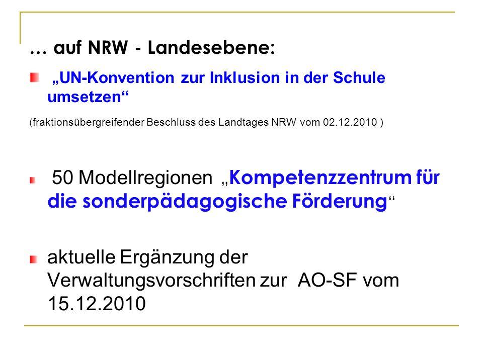 … auf NRW - Landesebene: