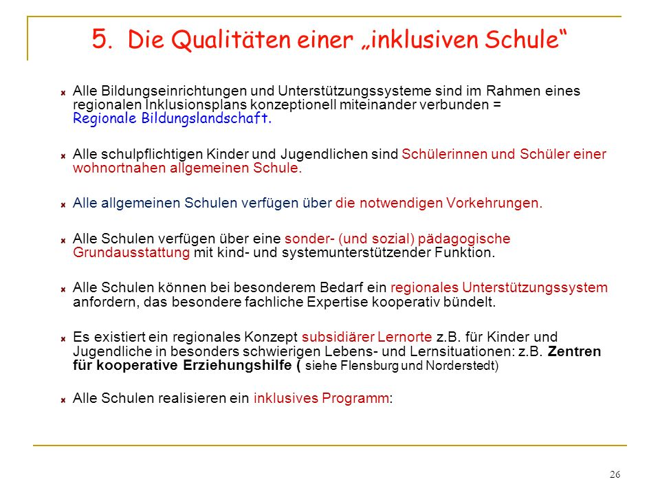 """5. Die Qualitäten einer """"inklusiven Schule"""