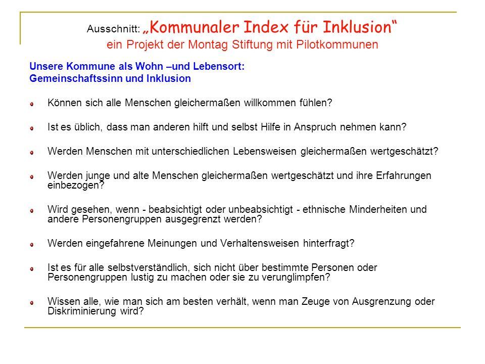 """Ausschnitt: """"Kommunaler Index für Inklusion ein Projekt der Montag Stiftung mit Pilotkommunen"""