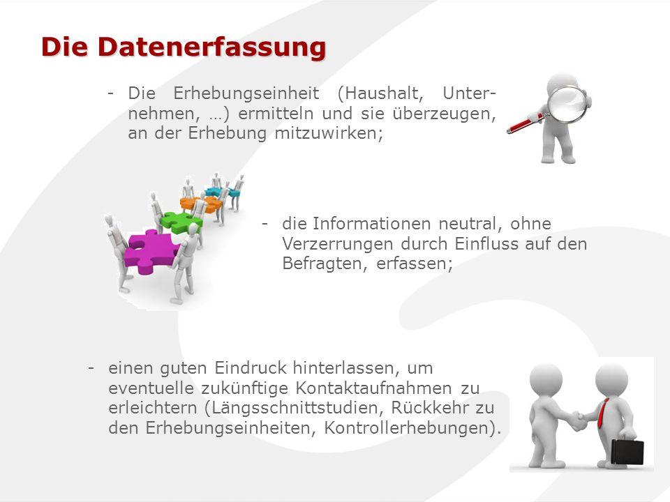 Die Datenerfassung Die Erhebungseinheit (Haushalt, Unter-nehmen, …) ermitteln und sie überzeugen, an der Erhebung mitzuwirken;