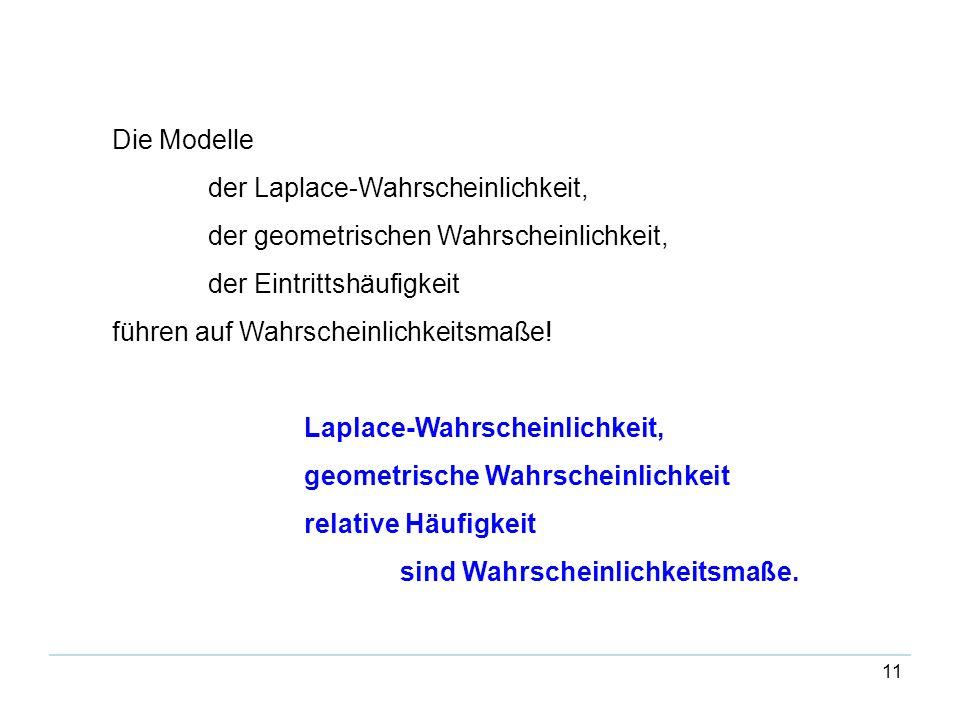 Die Modelle der Laplace-Wahrscheinlichkeit, der geometrischen Wahrscheinlichkeit, der Eintrittshäufigkeit.