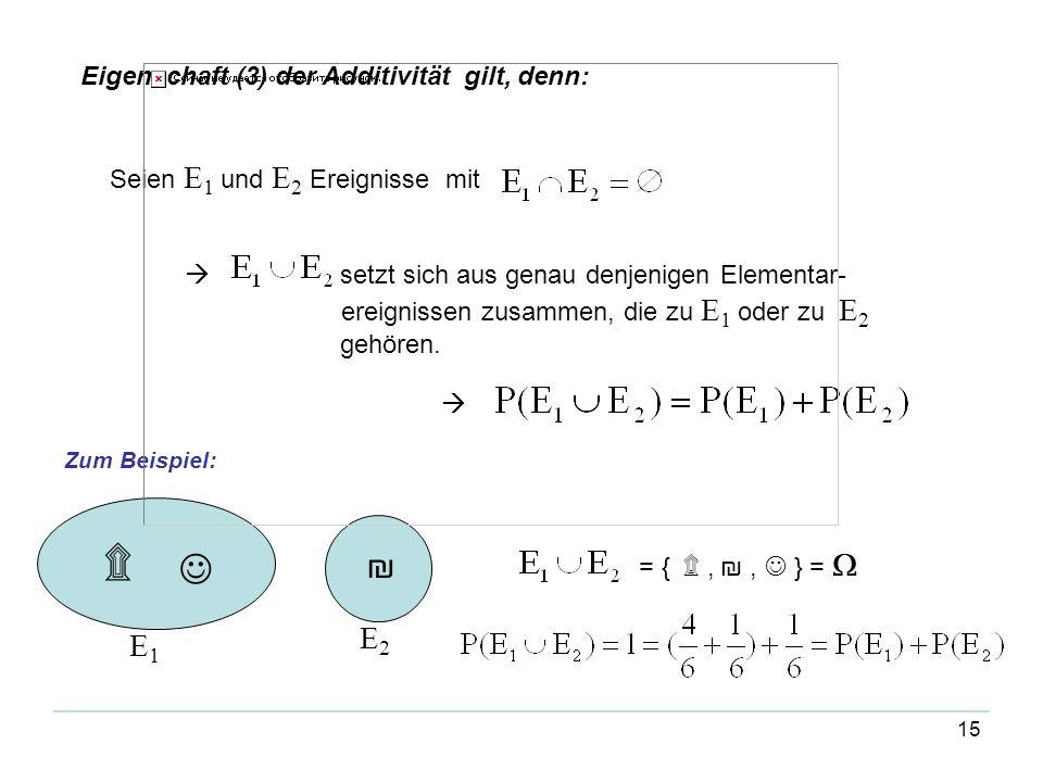 ۩  ₪ E2 E1 Eigenschaft (3) der Additivität gilt, denn: