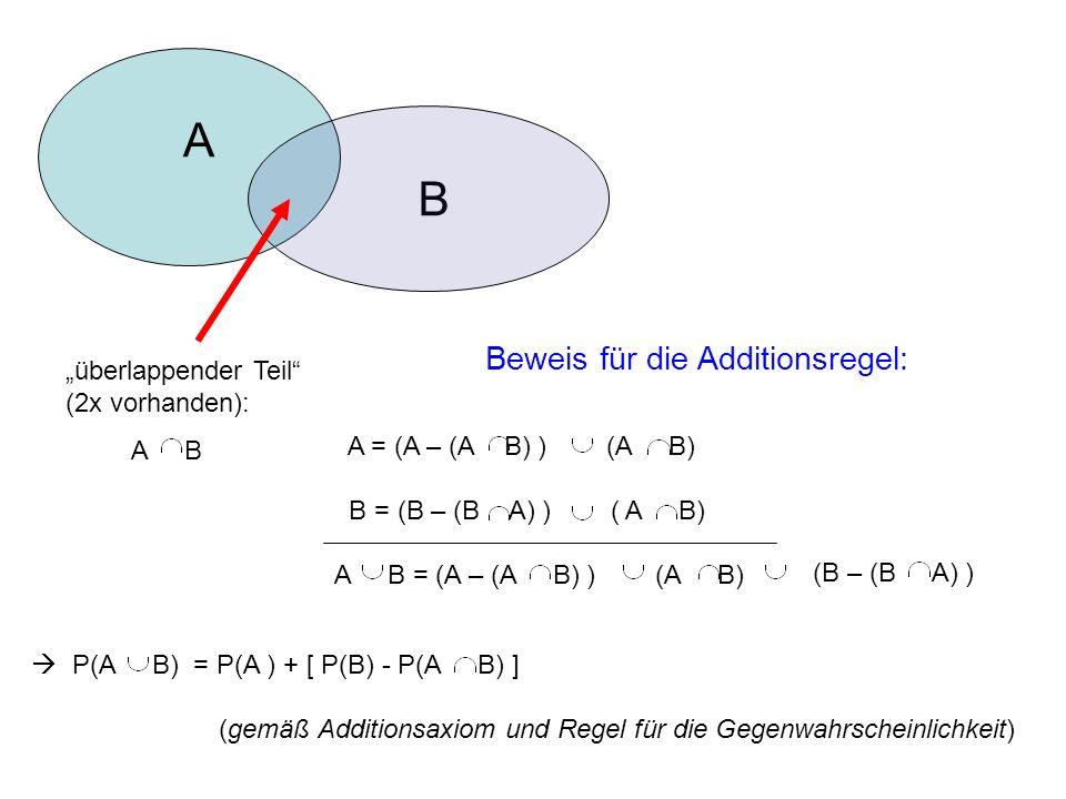 A B Beweis für die Additionsregel: