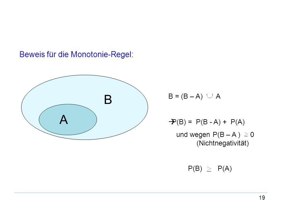 B A Beweis für die Monotonie-Regel: B = (B – A) A