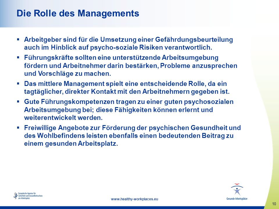 Die Rolle des Managements