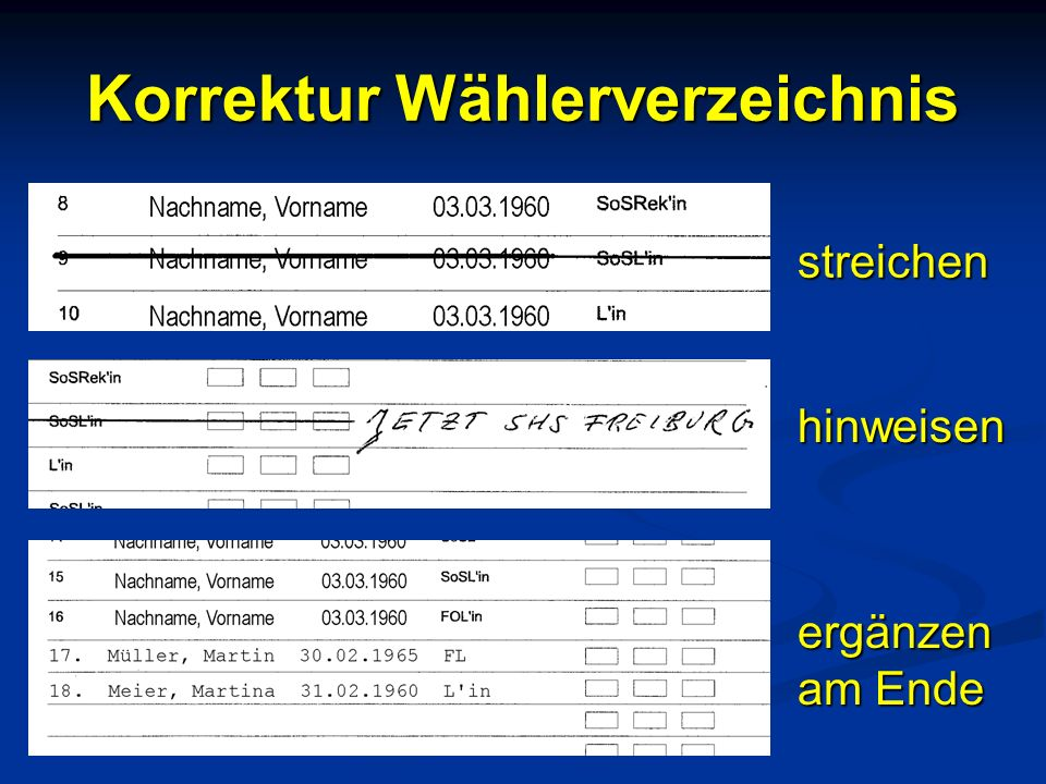 Korrektur Wählerverzeichnis