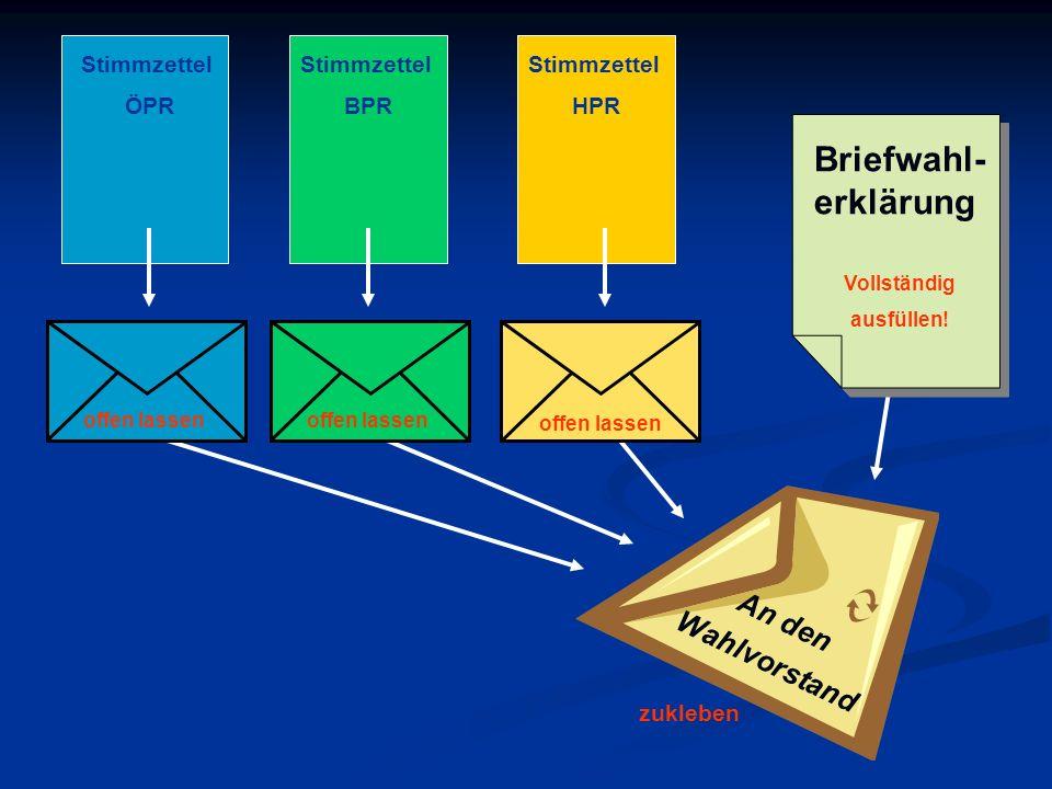 Briefwahl-erklärung An den Wahlvorstand Stimmzettel ÖPR Stimmzettel