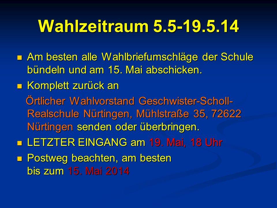 Wahlzeitraum 5.5-19.5.14 Am besten alle Wahlbriefumschläge der Schule bündeln und am 15. Mai abschicken.