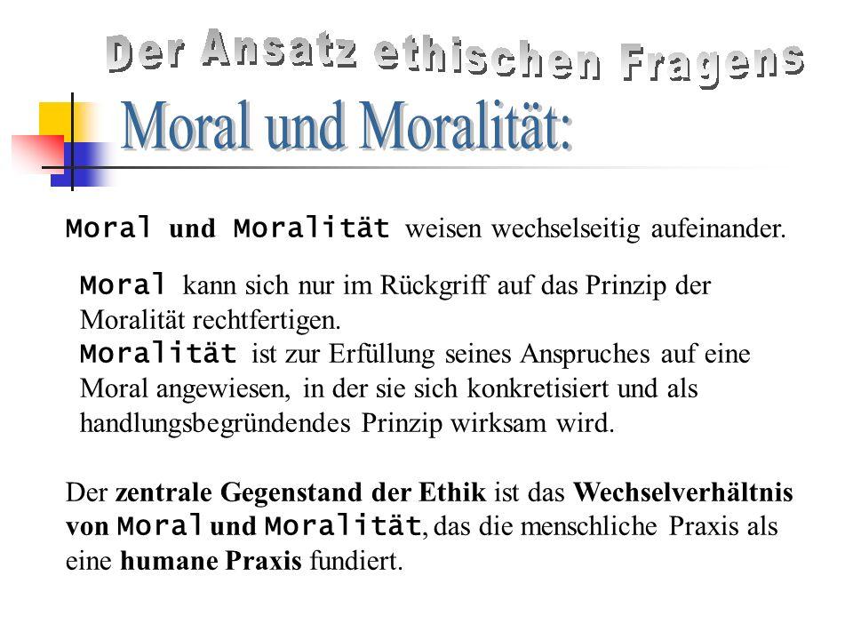 Moral und Moralität weisen wechselseitig aufeinander.