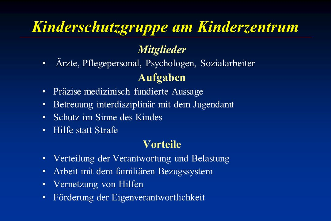 Kinderschutzgruppe am Kinderzentrum