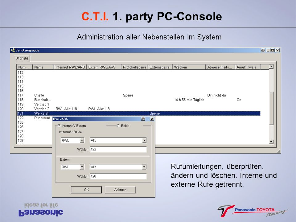 C.T.I. 1. party PC-Console Administration aller Nebenstellen im System