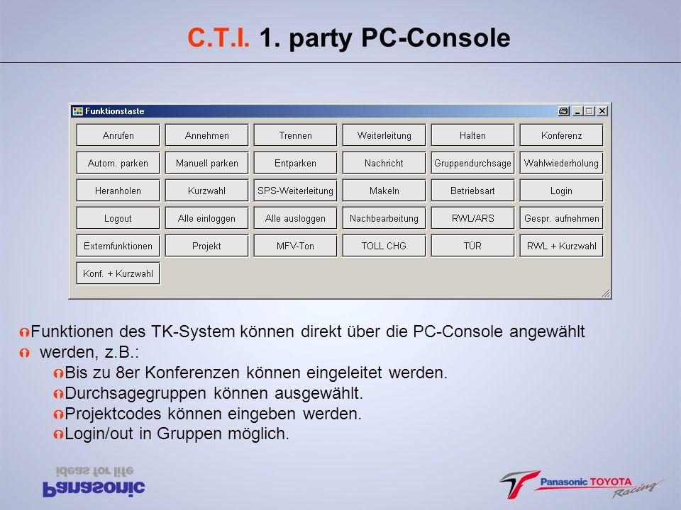 C.T.I. 1. party PC-Console Funktionen des TK-System können direkt über die PC-Console angewählt. werden, z.B.: